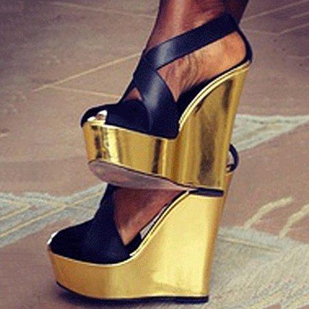 Black PU Color Block Spring/Fall Heels