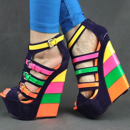 Blue Suede Spring/Fall Casual Buckle Wedge Heel Heels
