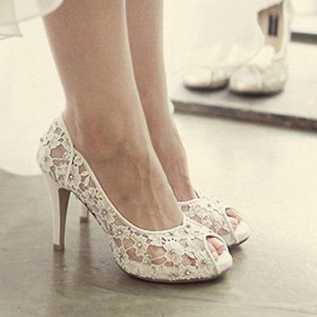 White Spring/Fall Wedding PU High Heel Heels