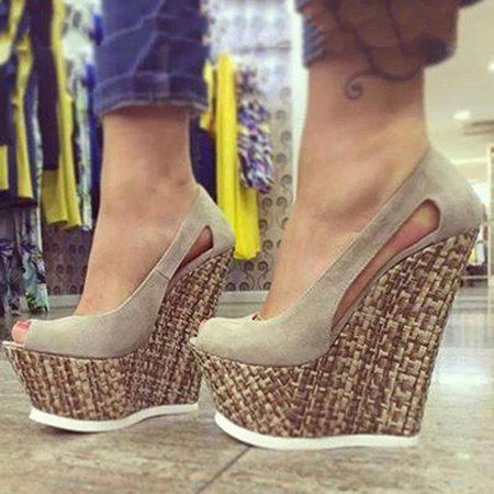 Gray Hollow-out Summer Casual Heels