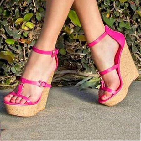 Rose Casual Buckle Summer Wedge Heel Cloth Heels