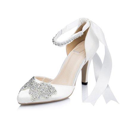 White Wedding Silk Fabric High Heel Summer Heels