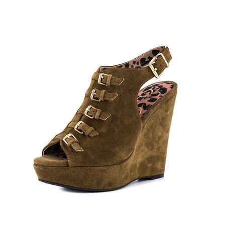 Khaki Suede Buckle Spring/Fall Heels