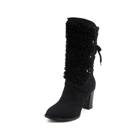 Winter PU Chunky Heel Lace-up Boots