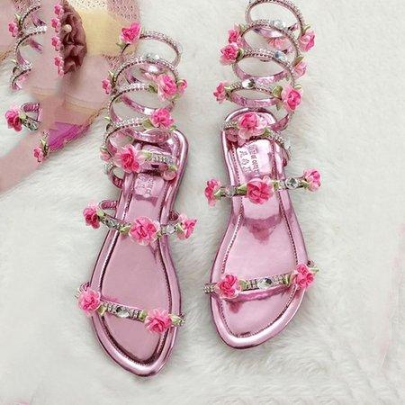 Flower Pink Summer Flat Heel PU Hollow-out Sandals