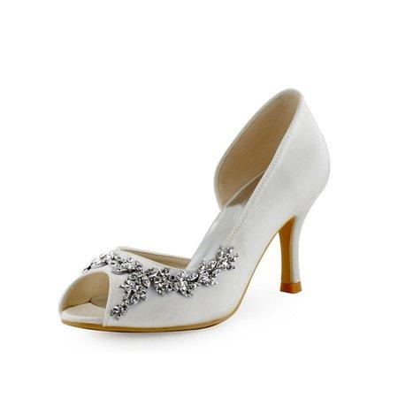 White Silk Fabric Spring/Fall Heels