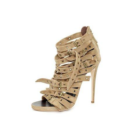 Khaki Buckle Stiletto Heel PU Sandals
