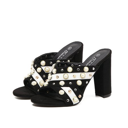 Black  Summer Imitation Pearl Chunky Heel Slippers