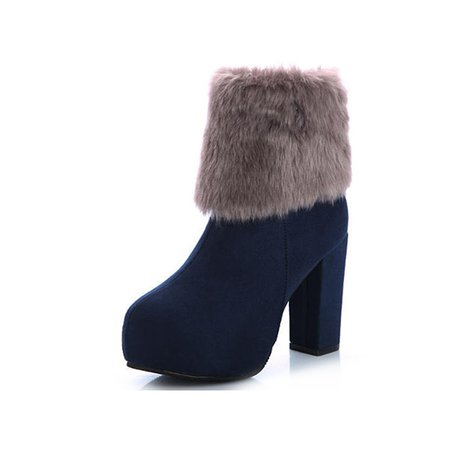 Chunky Heel Fur Suede Winter Boots
