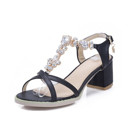 Spring/Fall Chunky Heel Rhinestone Sandals