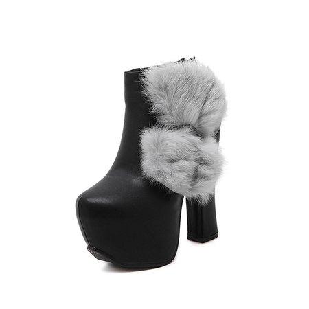 Black Chunky Heel PU Fur Winter Casual Boots