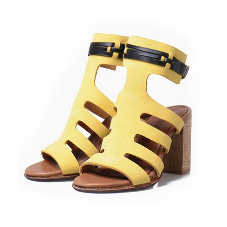 Buckle Chunky Heel Leather Summer Sandals