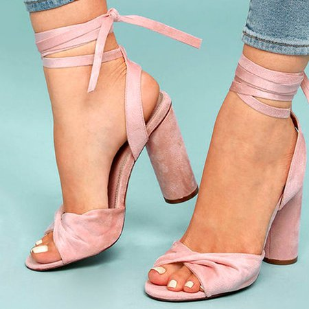 Pink Lace-up Chunky Heel Suede Summer Sandals