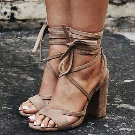 Camel Suede Chunky Heel Sandals