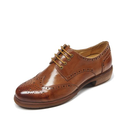 Low Heel Casual Leather Brogues Oxford Shoes