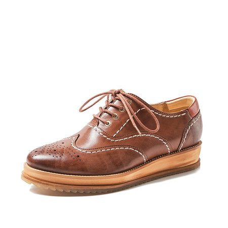 Lace-up Leather Platform Office & Career Creeper Brogues Oxford Shoes