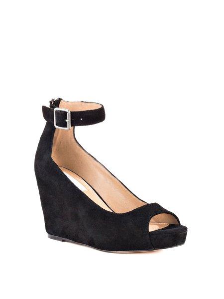 Black Casual Wedge Heel Suede Spring/Fall Zipper Heels