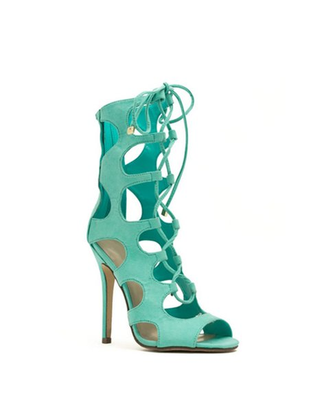 Green Lace-up Spring/Fall Stiletto Heel Suede Sandals