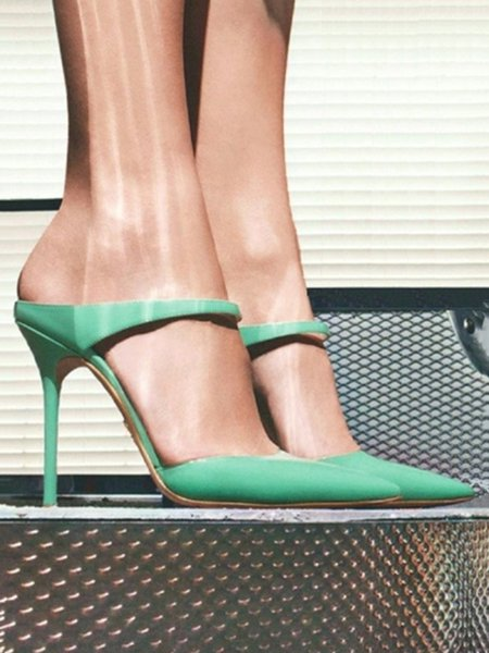 Green Summer Stiletto Heel PU Sandals