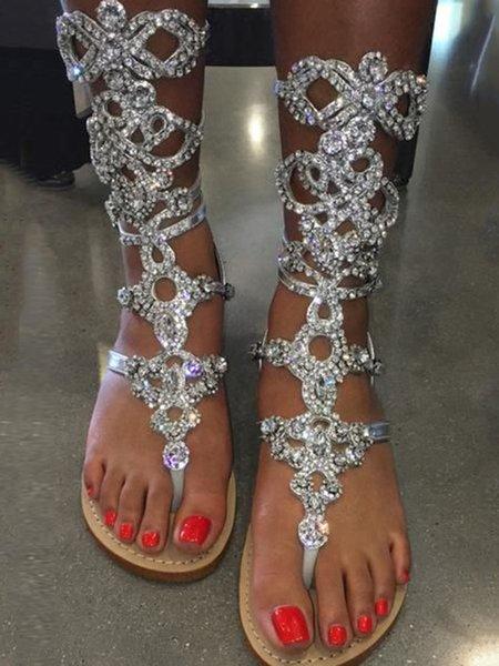 Rhinestone PU Flat Heel Summer Sandals