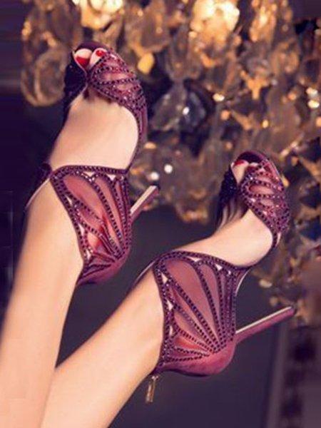Purple Hollow-out Suede Summer Stiletto Heel Heels