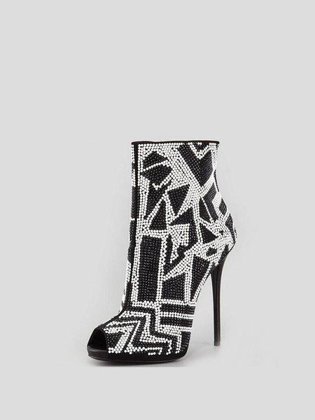 Black PU Beading Stiletto Heel Boots
