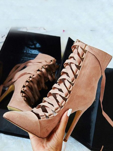 Stiletto Heel PU Summer Lace-up Boots