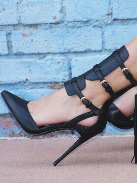 Black Buckle Stiletto Heel Hollow-out PU Heels