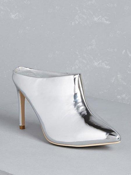 Silver PU Stiletto Heel  Summer Heel