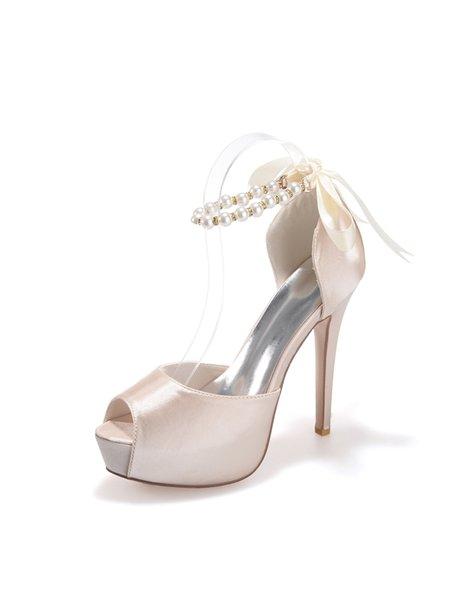 Stiletto Heel Pearl Satin Sandals