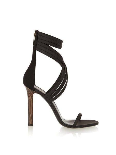 Black Stiletto Heel Hollow-out Sandals