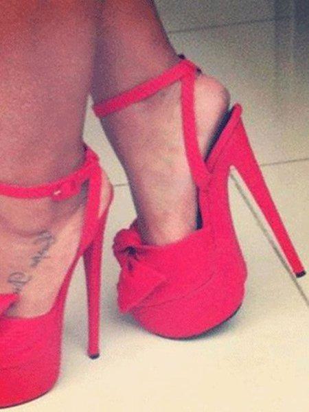 Suede Stiletto Heel Bowknot Heels