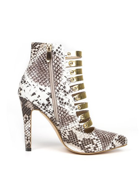 Golden Leather Hollow-out Stiletto Heel Summer Sandals