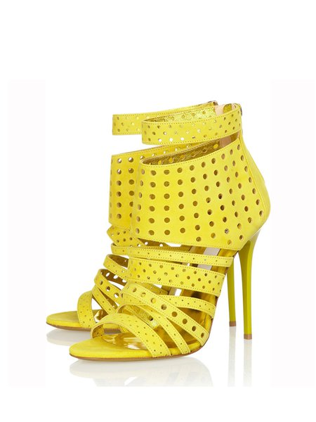 Yellow Stiletto Heel  Hollow-out Sandals