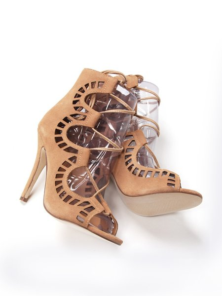 Apricot Stiletto Heel Lace-up Sandals