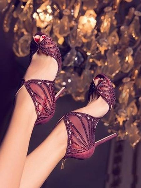 Burgundy Summer Lace Stiletto Heel Sandals