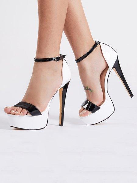 White Summer Leather Stiletto Heel Buckle Sandals