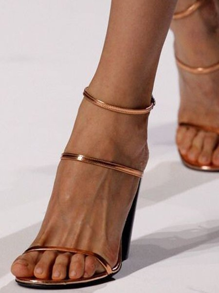 Golden Leather Stiletto Heel Spring/Fall Buckle Sandals