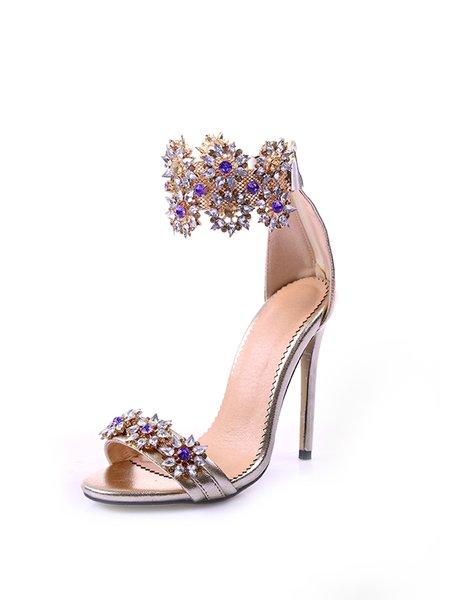 Golden Rhinestone PU Summer Sandals