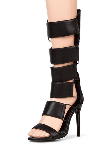Black PU Stiletto Heel Hollow-out Summer Sandals