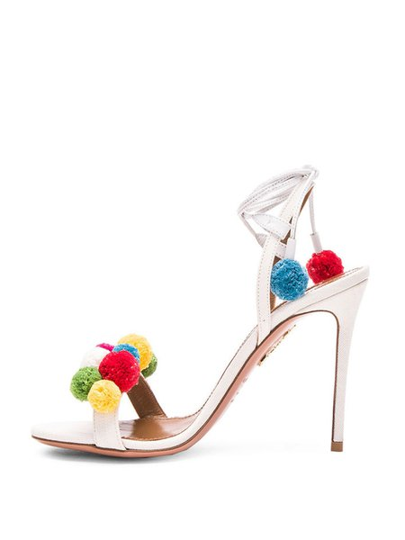 White Spring/Fall PU Lace-up Stiletto Heel Sandals
