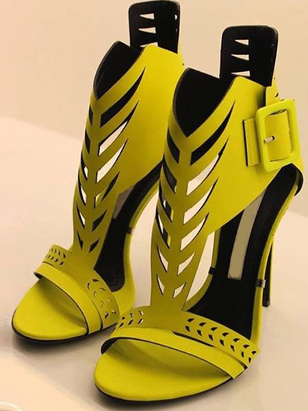 Yellow PU Buckle Spring/Fall Sandals