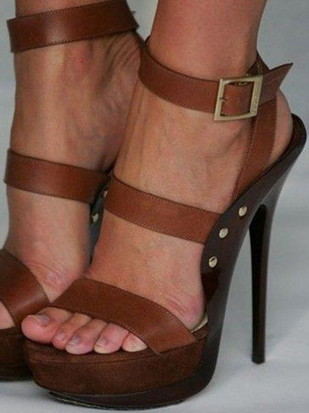 Brown Buckle Stiletto Heel Summer Sandals