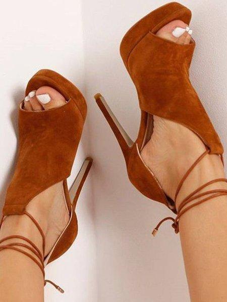 Brown PU Stiletto Heel Summer Lace-up Sandals