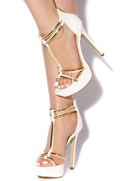 White Stiletto Heel Hollow-out PU Summer Sandals