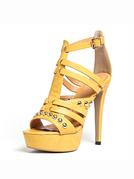 Yellow Hollow-out Spring/Fall Stiletto Heel Sandals