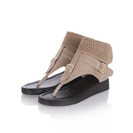 Beige Suede Buckle Platform Spring/Fall Casual Sandals