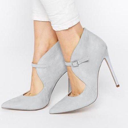 Gray Summer Buckle Stiletto Heel Heels