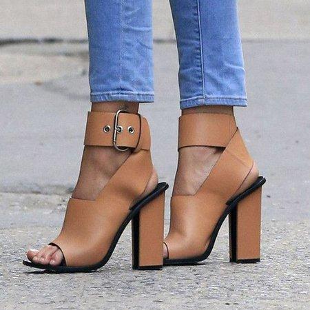 Brown PU Chunky Heel Buckle Sandal
