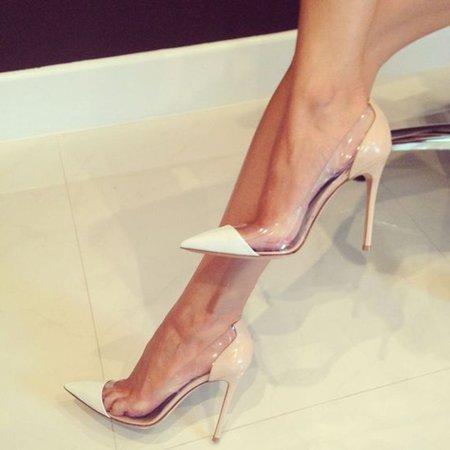 Nude Stiletto Heel PU Heels